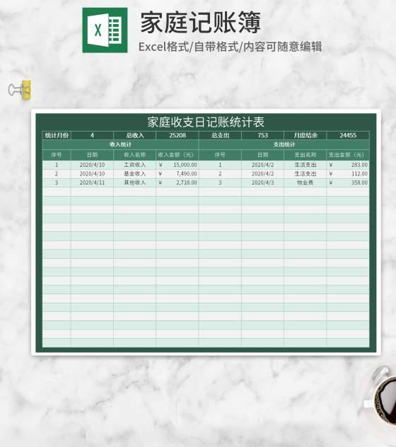 绿色家庭收支日记账统计表Excel模板