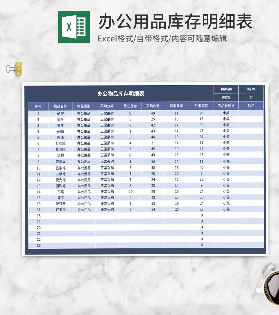 办公用品库存明细表Excel模板