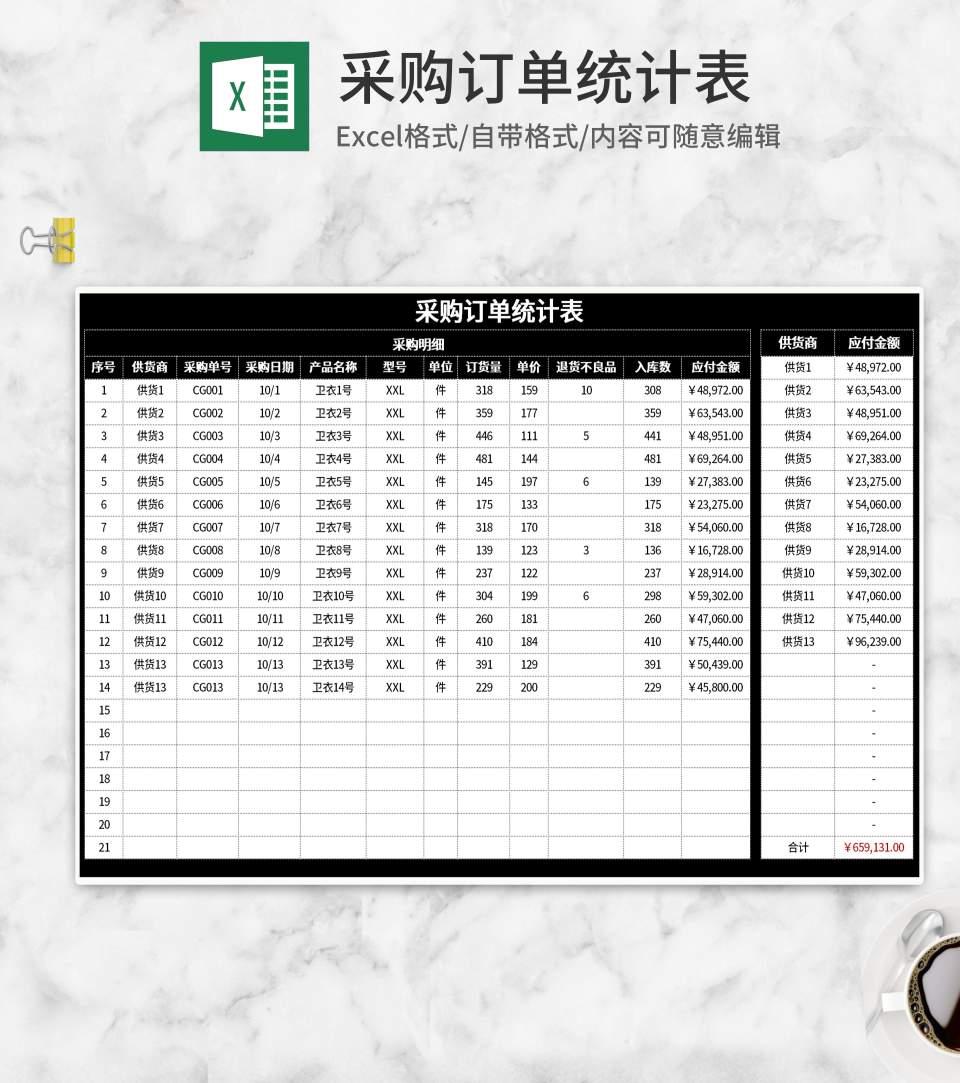 黑色采购订单统计表Excel模板