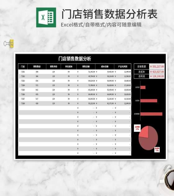 黑色门店销售数据分析表Excel模板