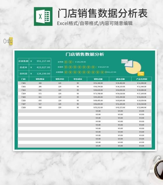 绿色门店销售数据分析表Excel模板