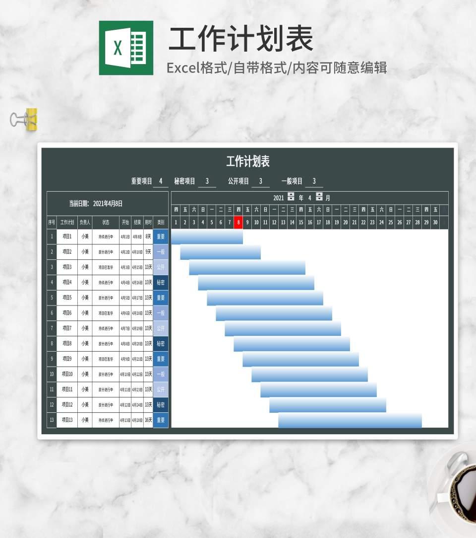 绿色工作计划表Excel模板
