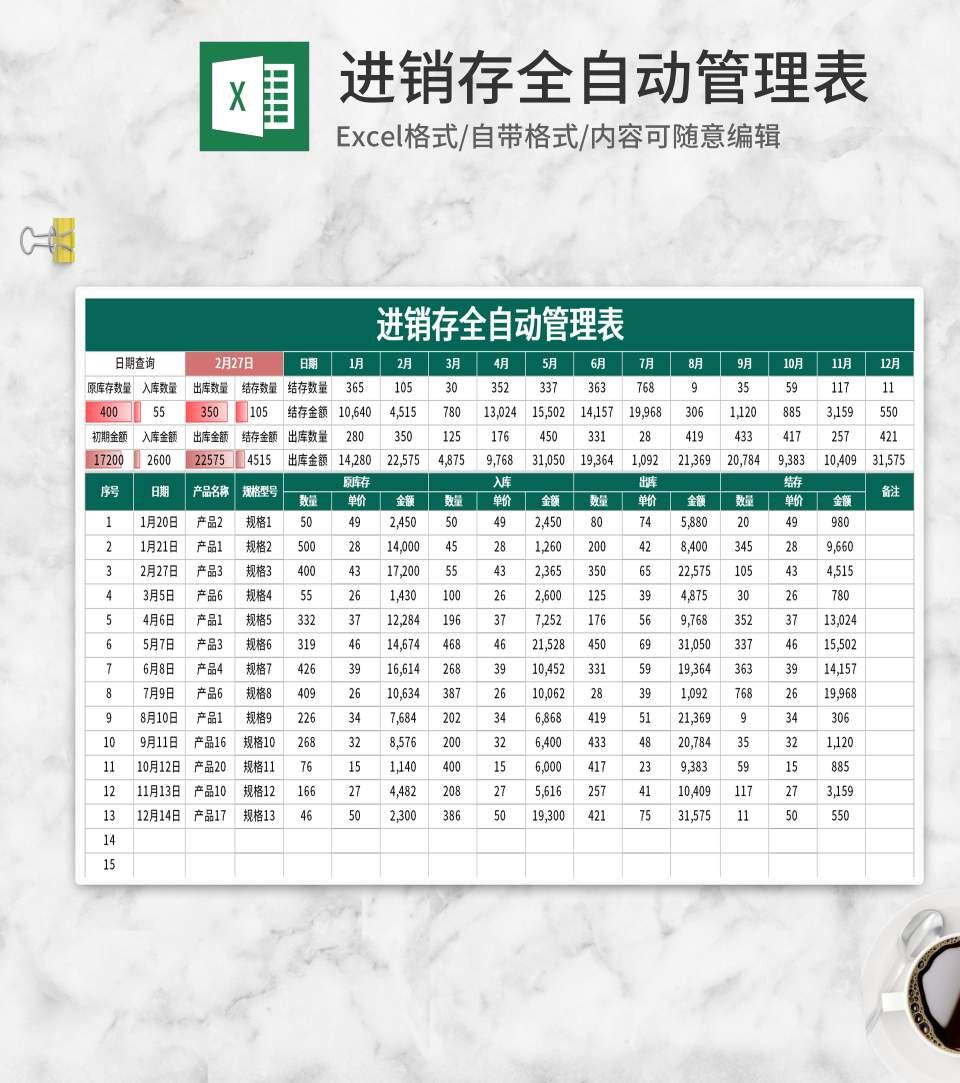 简约绿色全自动库存管理表Excel模板
