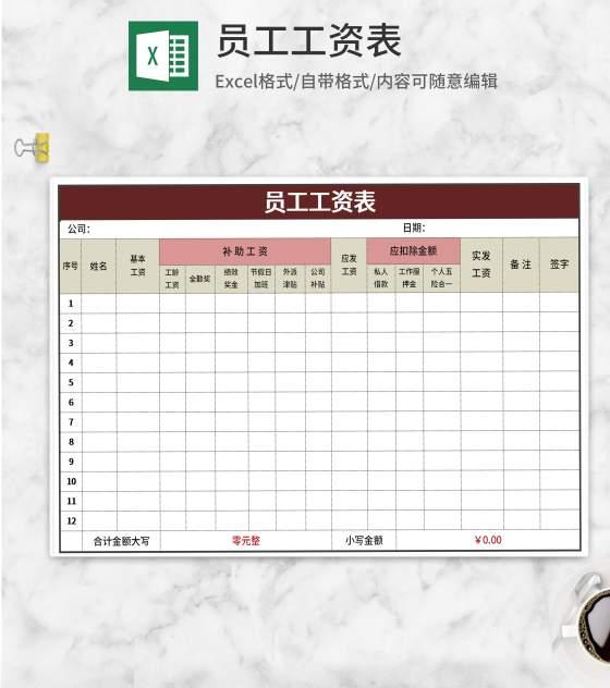 红色员工工资表Excel模板