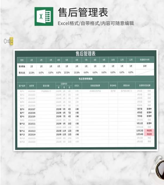 绿色售后管理表Excel模板
