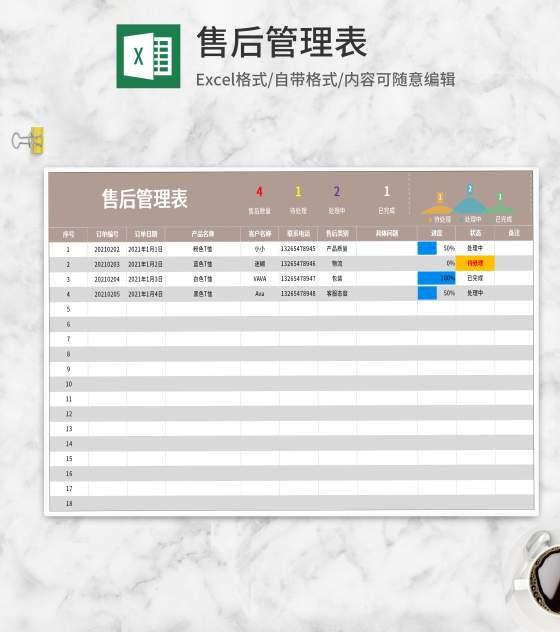 订单售后管理表Excel模板