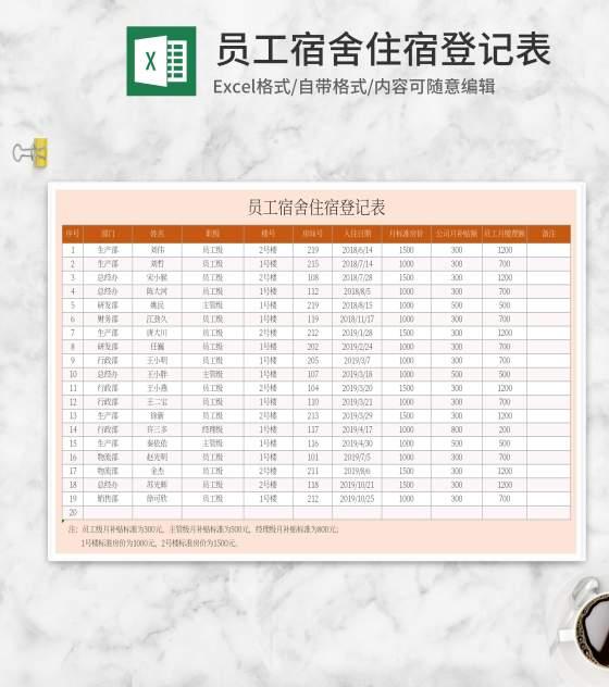 橘色员工宿舍住宿登记表Excel模板