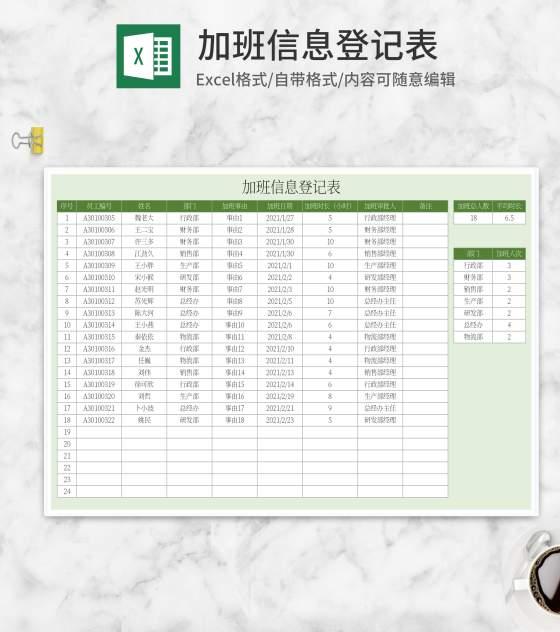 绿色加班信息登记表Excel模板