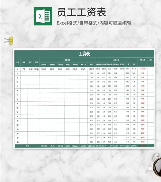绿色员工工资明细表Excel模板