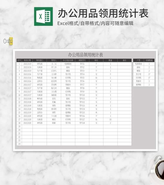 办公用品领用统计表Excel模板