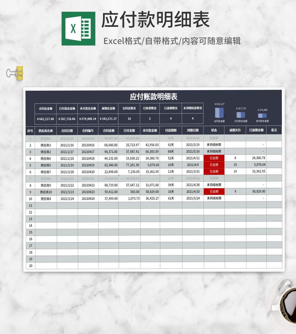 深蓝应付账款明细表Excel模板