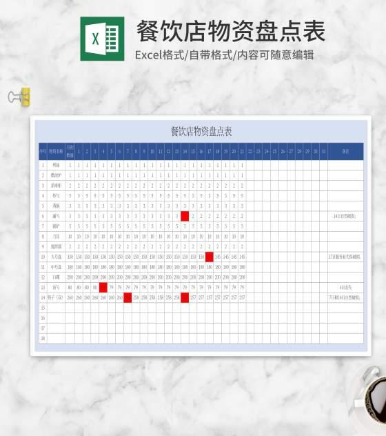 蓝色餐饮物资盘点表Excel模板