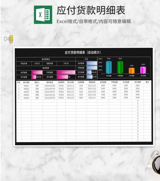 黑色应付贷款明细表Excel模板