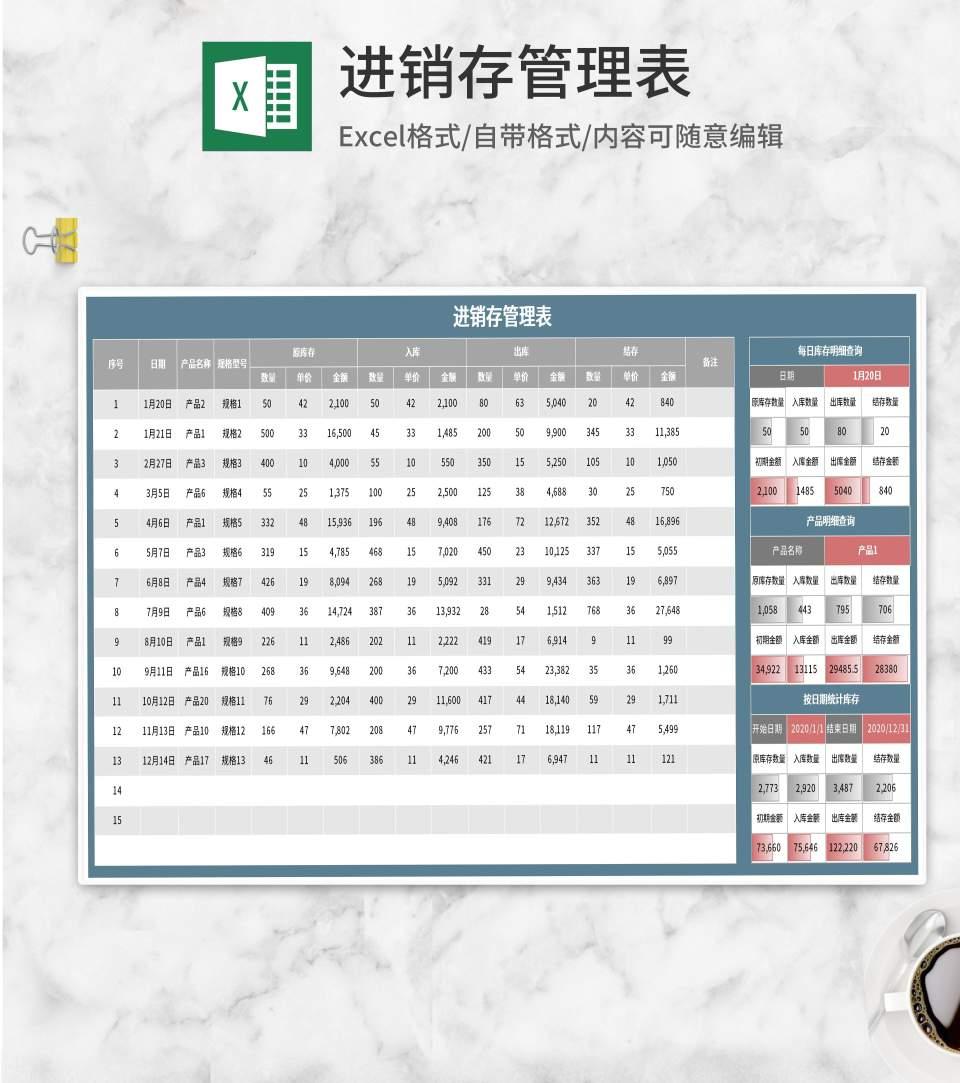 蓝色进销存管理表Excel模板