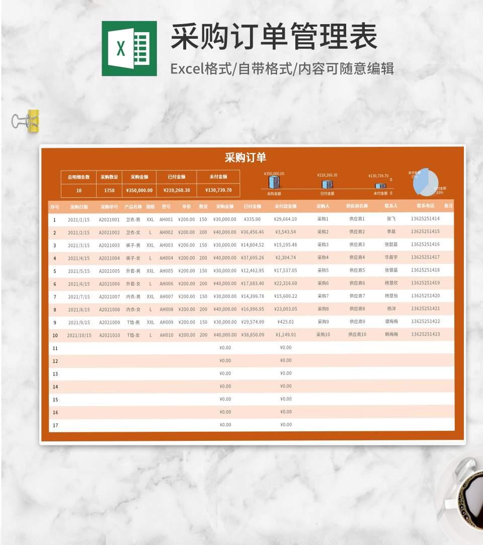 橘色采购订单管理表Excel模板