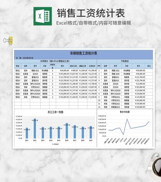 蓝色销售工资统计表Excel模板