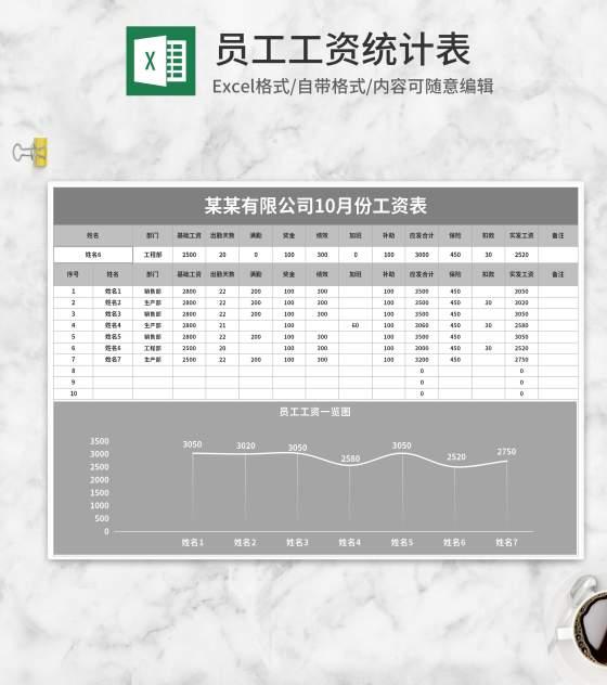 灰色公司员工工资统计表Excel模板