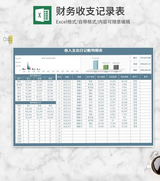 蓝色收支日记账明细表Excel模板