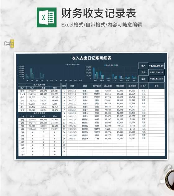 深蓝收入支出日记账明细表Excel模板