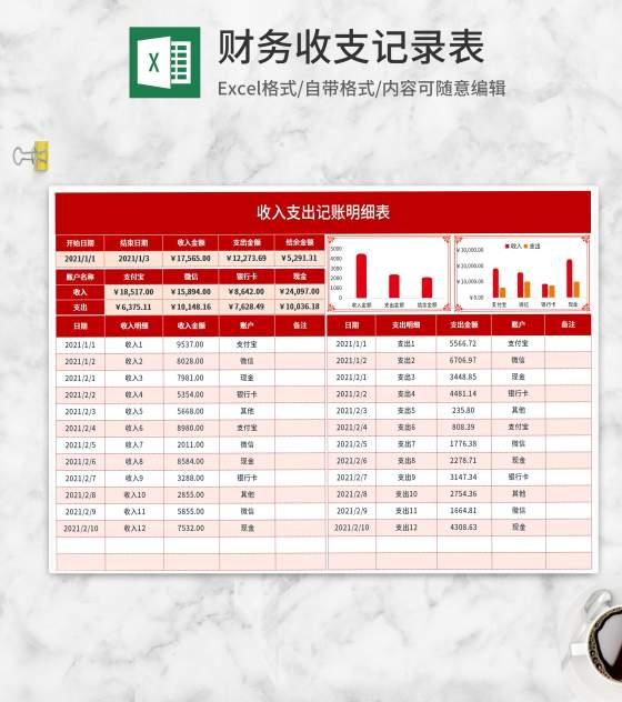 红色财务收支记录表Excel模板