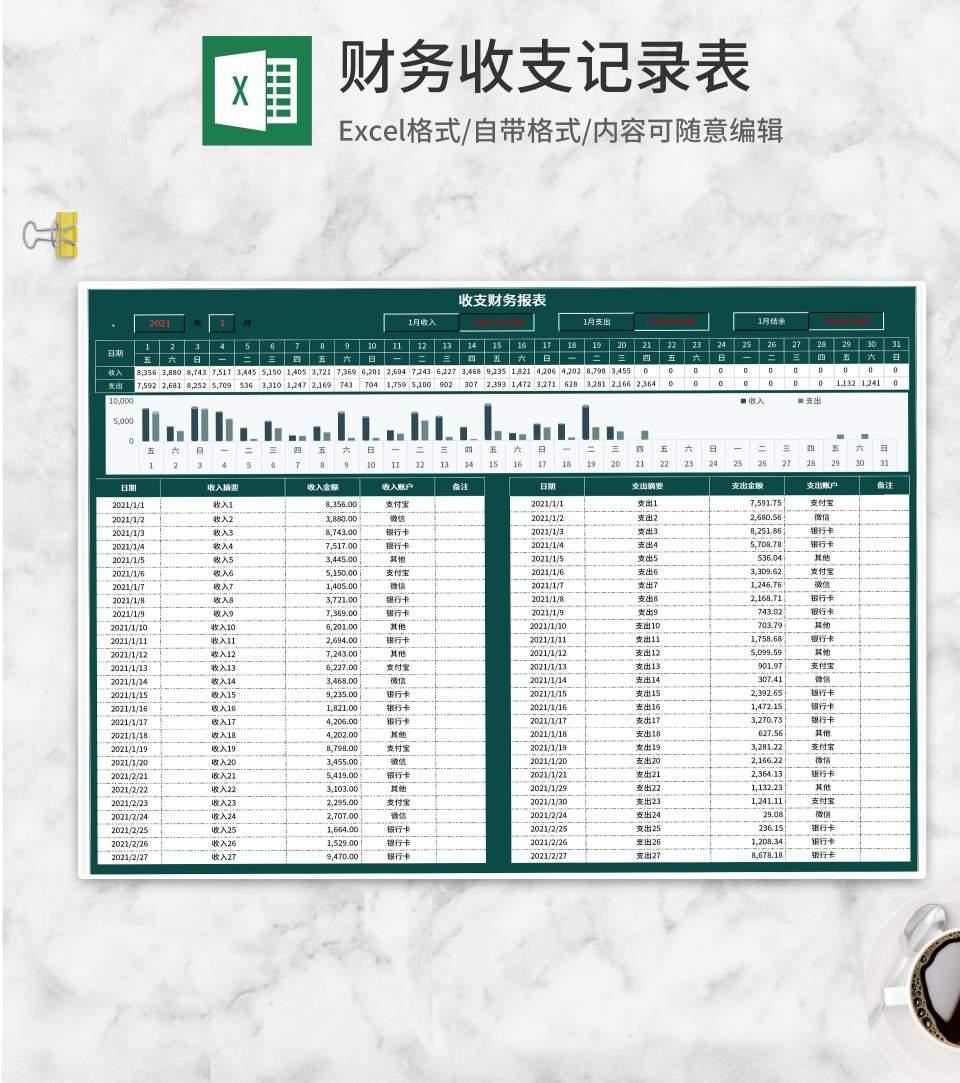 深绿财务收支记录表Excel模板
