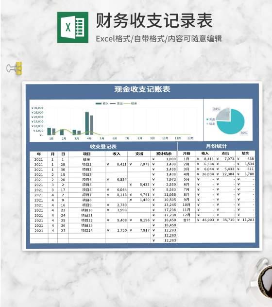 蓝色财务现金收支记账表Excel模板