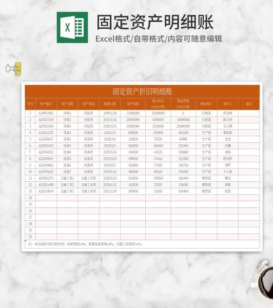 橘色固定资产折旧明细账Excel模板