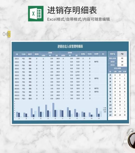 蓝色进销存明细表Excel模板