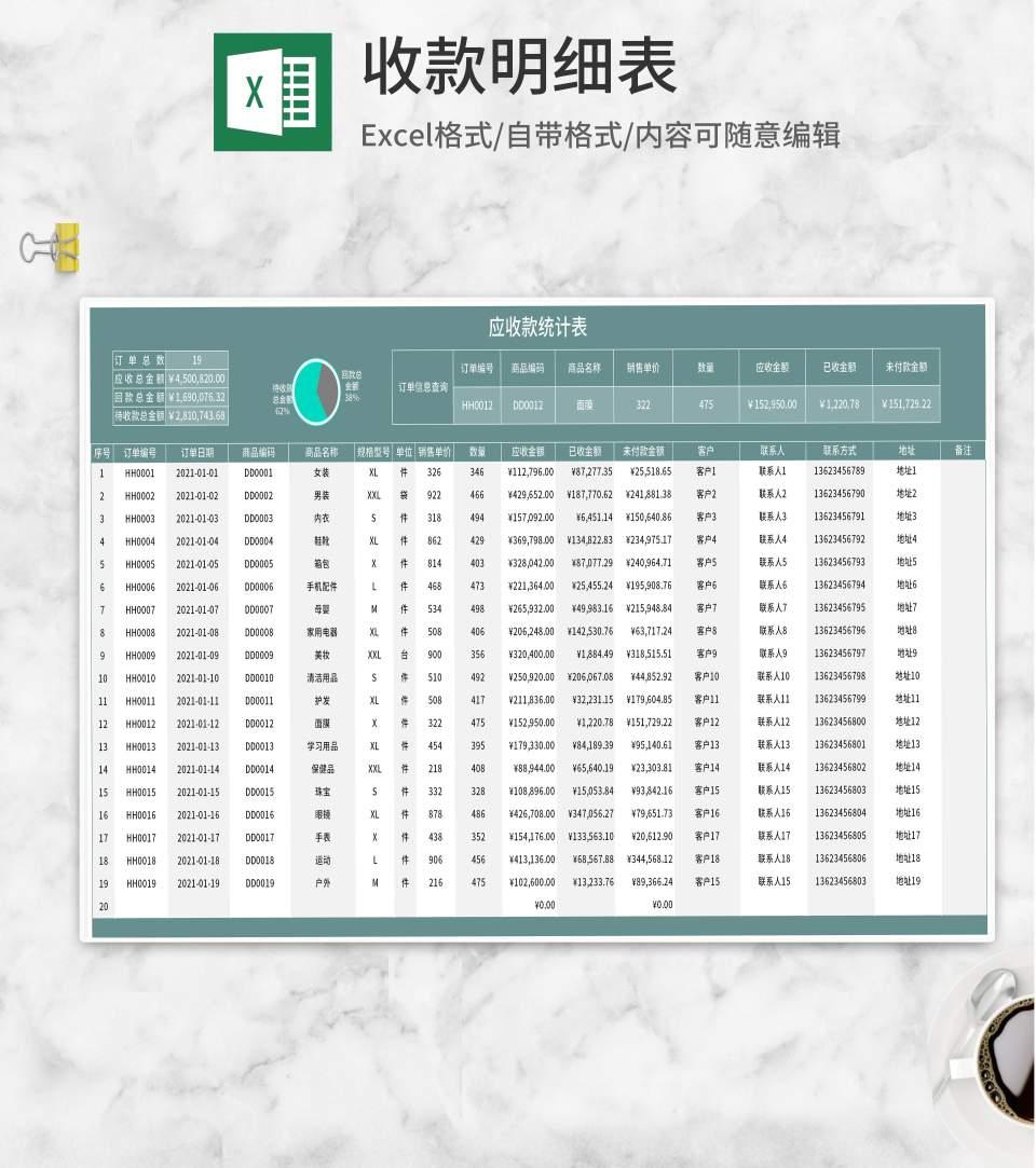 绿色订单应收款明细表Excel模板