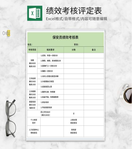 绿色保安员绩效考核表Excel模板