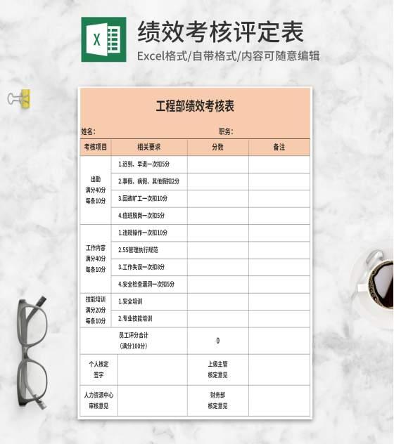 橘色工程部绩效考核表Excel模板