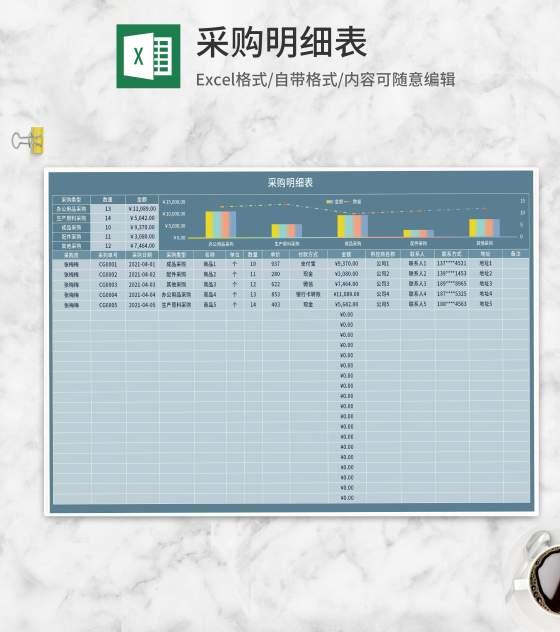 蓝色生产采购明细表Excel模板