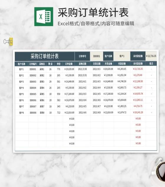 客户采购订单统计表Excel模板
