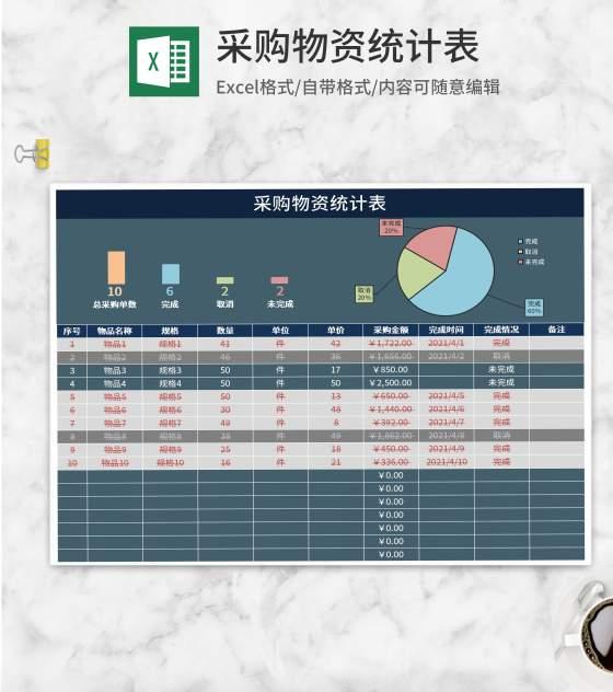 采购物资统计表Excel模板