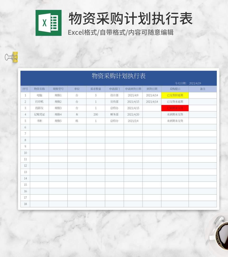 蓝色物资采购计划执行表Excel模板