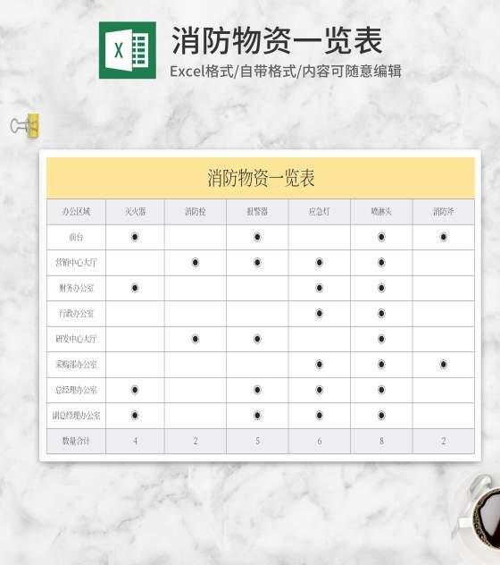 消防物资一览表Excel模板