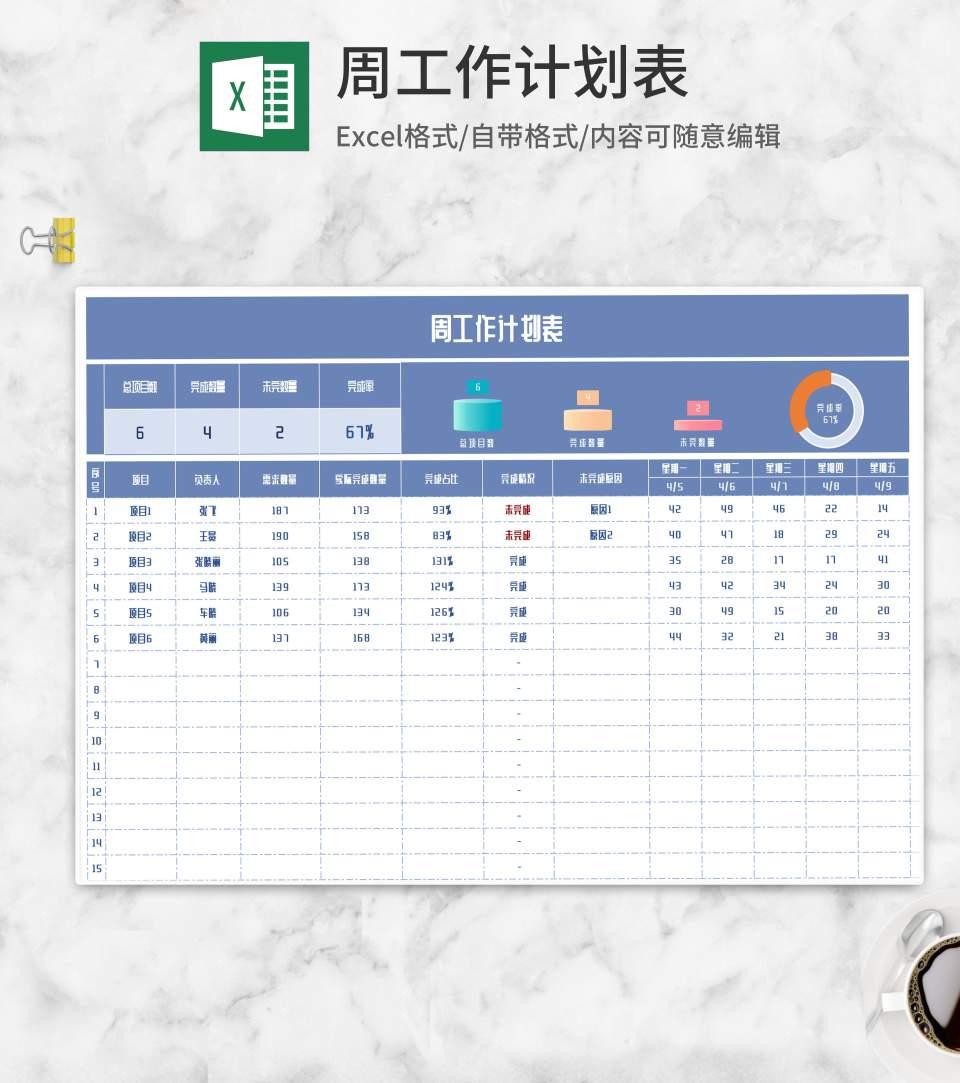 蓝色周工作计划表Excel模板