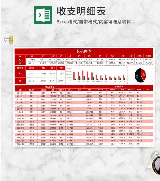 红色项目收支明细表Excel模板