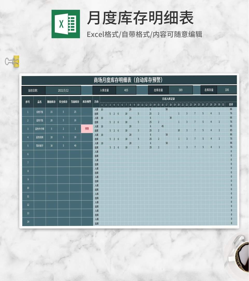 商场月度库存明细表Excel模板