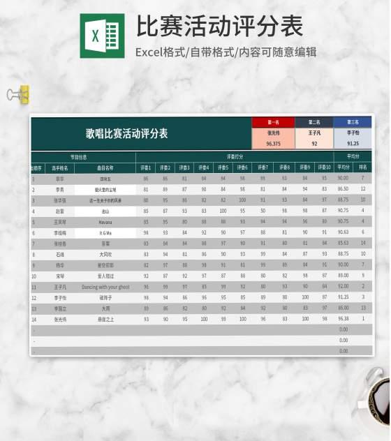 绿色歌唱比赛活动评分表Excel模板