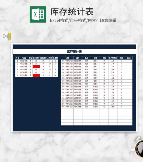 蓝色服装库存统计表Excel模板