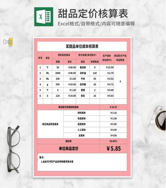 粉色甜品单位成本核算表Excel模板