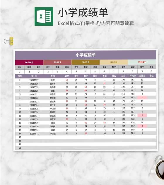 紫色小学成绩单Excel模板
