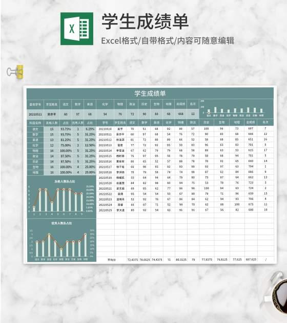 绿色学生成绩单Excel模板