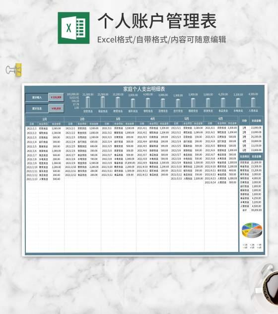 家庭季度个人支出明细表Excel模板