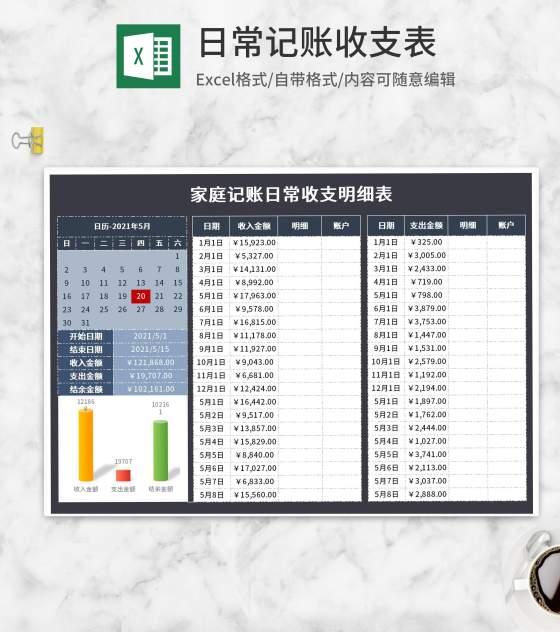 家庭记账日常收支明细表Excel模板