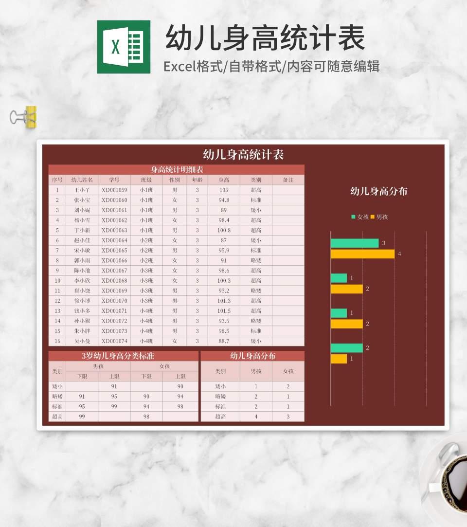 红色幼儿身高统计表Excel模板