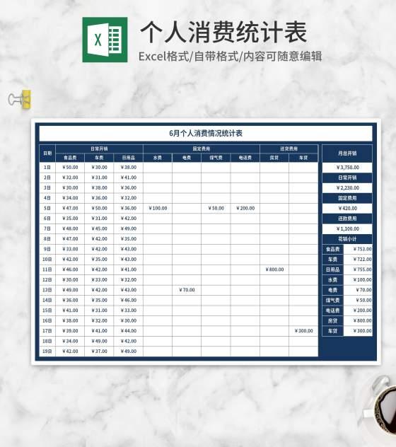 蓝色月度个人消费情况统计表Excel模板