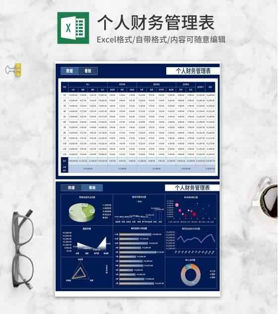 深蓝个人财务管理数据看板Excel模板