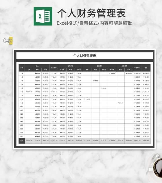 灰色个人月度财务管理表Excel模板